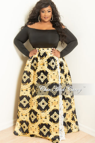 New Plus Size Long Maxi Skirt in Burgundy and Peach Floral Print
