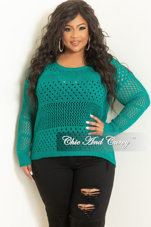 Final Sale Plus Size Long Sleeve Crochet Sweater in Teal w/ Black Faux Leather Shoulder Patch