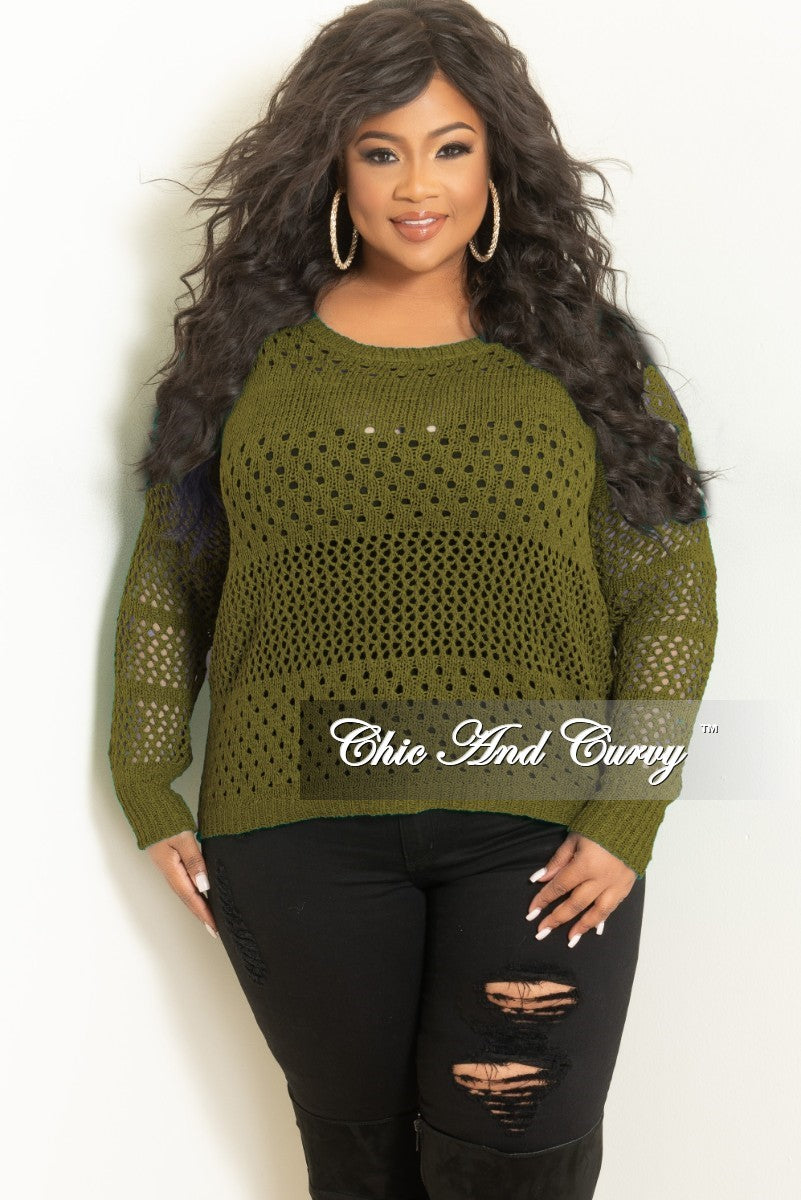 50b765e46eb Final Sale Plus Size Long Sleeve Crochet Sweater in Olive w  Black Fau –  Chic And Curvy