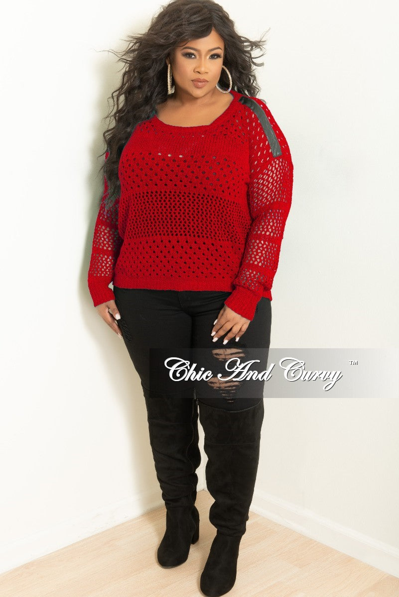Final Plus Size Long Sleeve Crochet Sweater in Burgundy w/ Black Faux Leather Shoulder Patch
