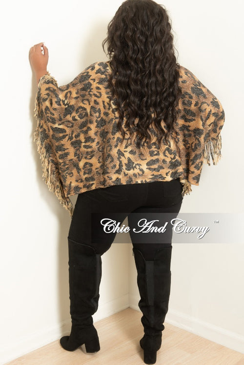 Final Sale Plus Size Poncho with Tiger Face in Light Brown