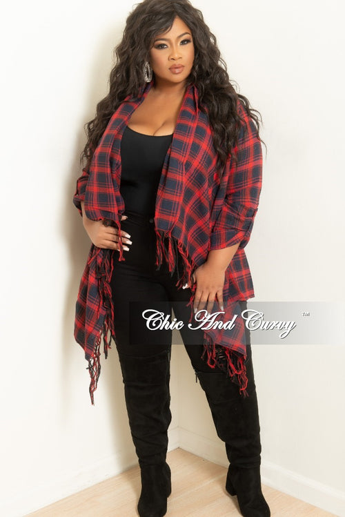 New Plus Size Open Front Kimono Red and Navy