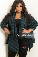 New Plus Size Open Front Kimono Dark Green and Navy