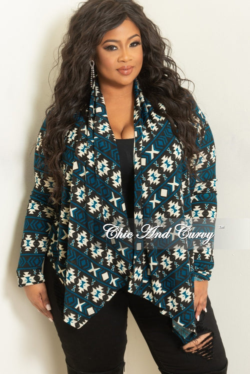 Final Sale Plus Size Cardigan in Teal, Black and Cream Tribal Print