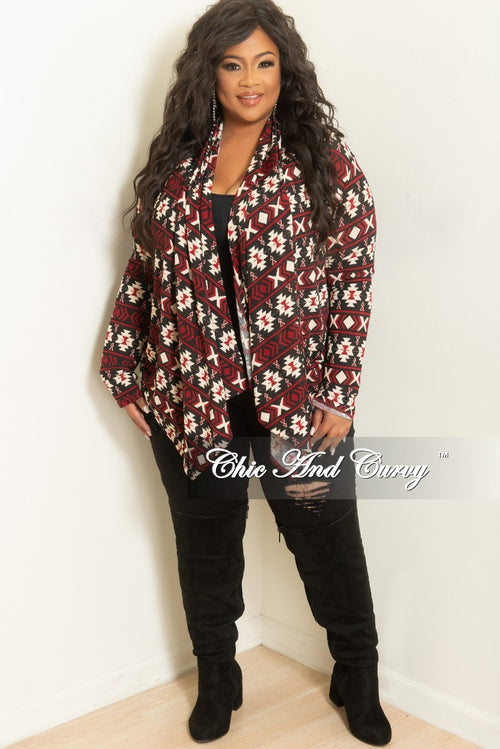 Final Sale Plus Size Cardigan in Burgundy and Cream Tribal Print
