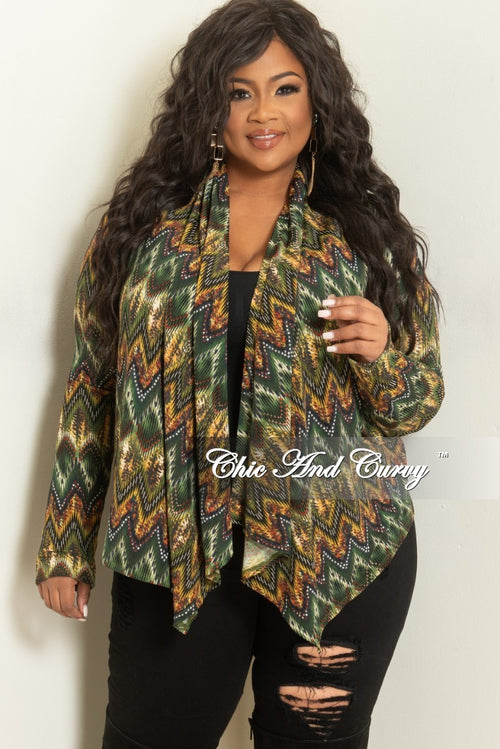 470432c951a Final Sale Plus Size Cardigan in Green and Yellow Print