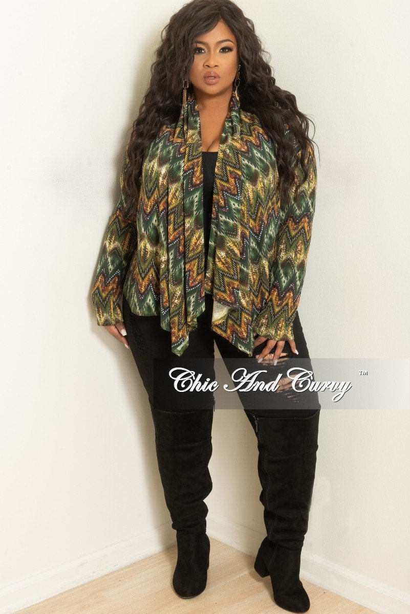 Final Sale Plus Size Cardigan in Green and Yellow Print