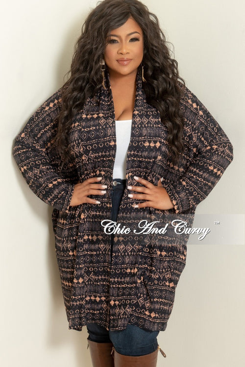 New Plus Size Long Sleeve Duster in Navy and Peach
