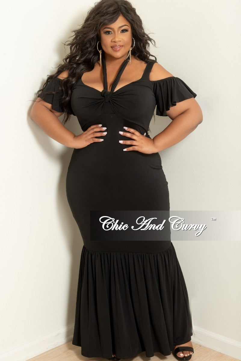 New Plus Size Spaghetti Strap Off the Shoulder Short Sleeve Ruffle Long  Dress with Front Bow Tie in Black