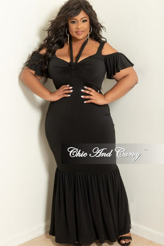 cd3c8f081a3 New Plus Size Spaghetti Strap Off the Shoulder Short Sleeve Ruffle Long  Dress with Front Bow Tie in Black