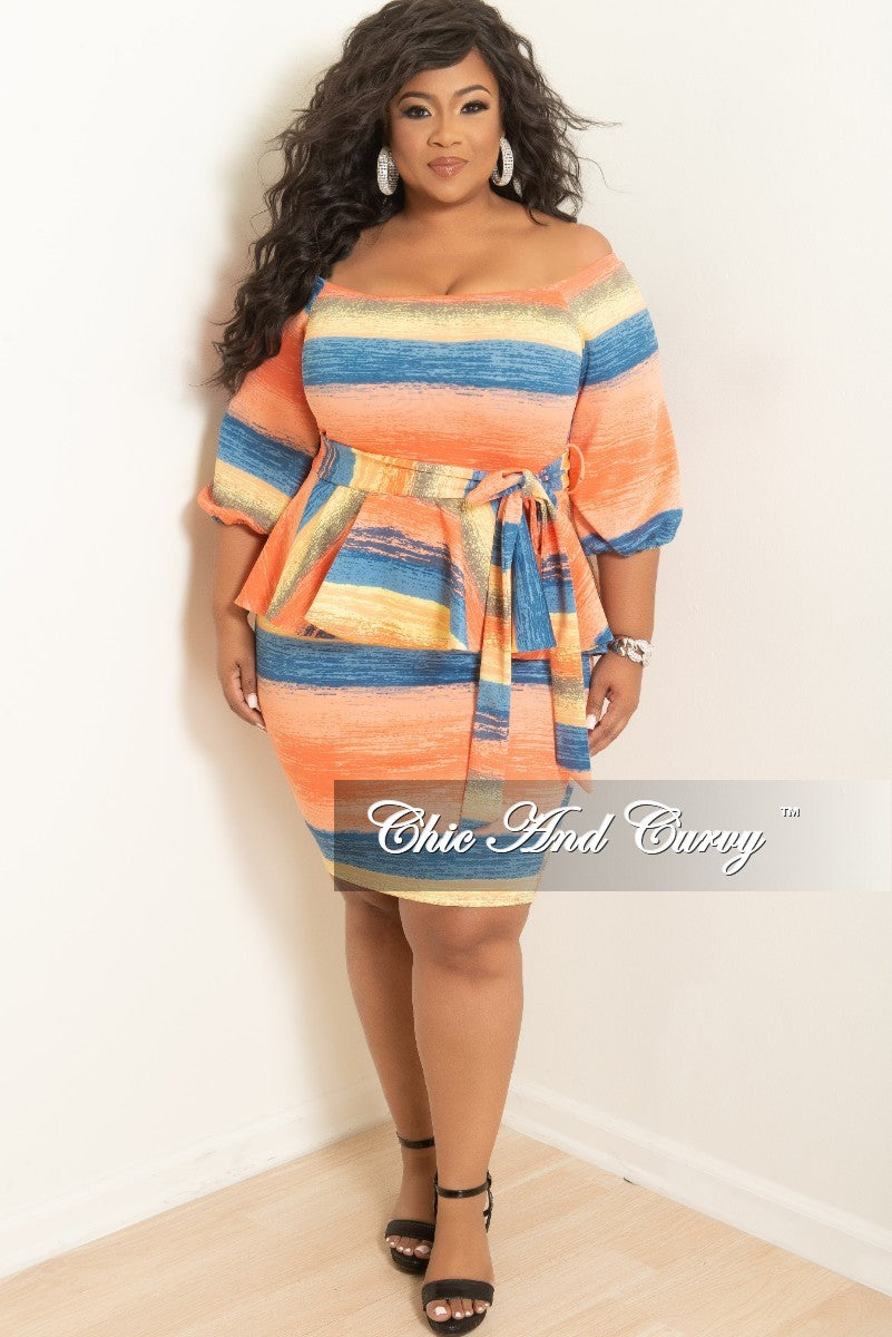 New Plus Size Off the Shoulder Peplum BodyCon Dress with Attached Tie in Coral Blue and Yellow