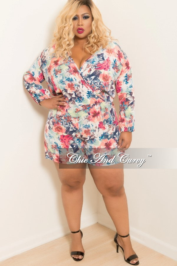 eaedcc8e43c Final Sale Plus Size Floral Long Sleeve Faux Wrap Romper in Neon Pink