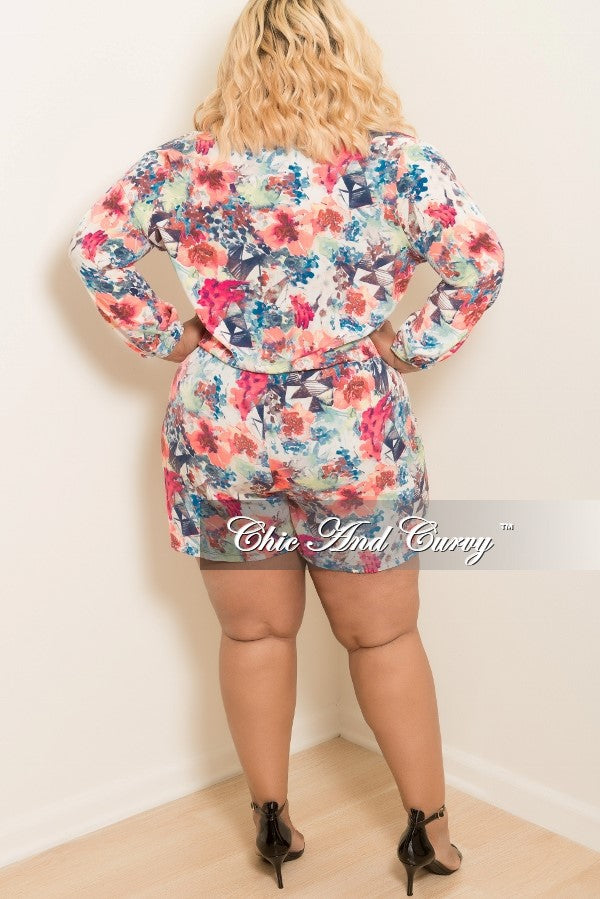 Final Sale Plus Size Floral Long Sleeve Faux Wrap Romper in Neon Pink, Blue, Off White, Magenta, and Green