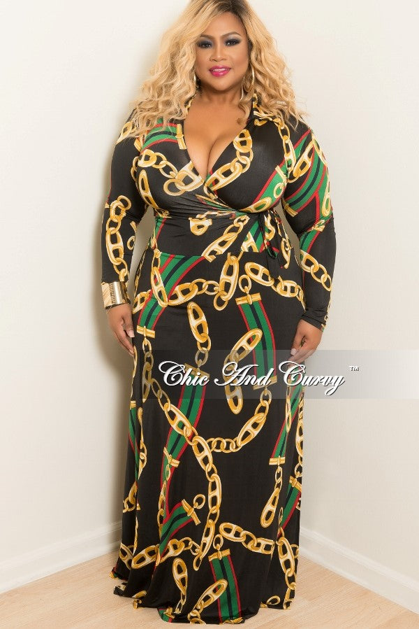 Final Sale Plus Size Long Sleeve Faux Wrap Collar Dress in Black, Red, Green and Gold Chain Print