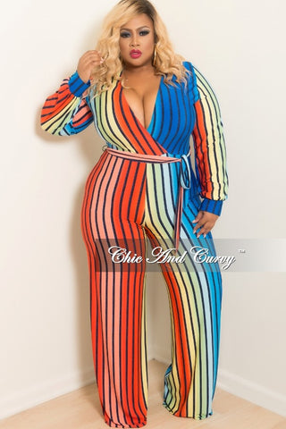 Final Sale Plus Size Faux Wrap Stripe Jumpsuit with Attached Tie in Royal Blue , Red, Lime Green and Yellow