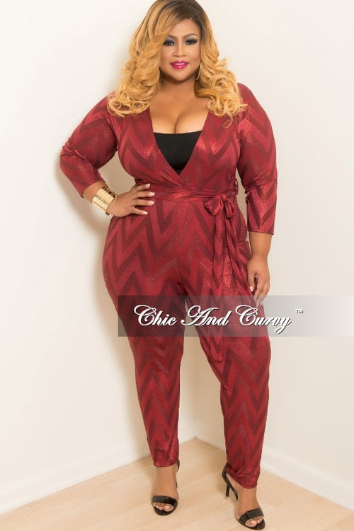 Final Sale Plus Size Mesh Faux Wrap Jumpsuit with in Attached Tie Burgundy