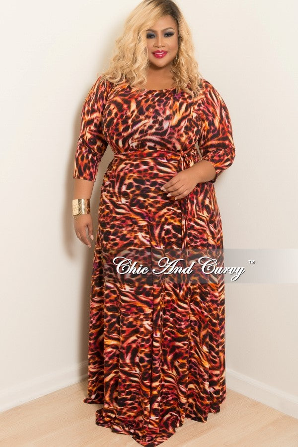 New Plus Size Long Dress with 3/4 Sleeve and Tie in Grey Tie in ...
