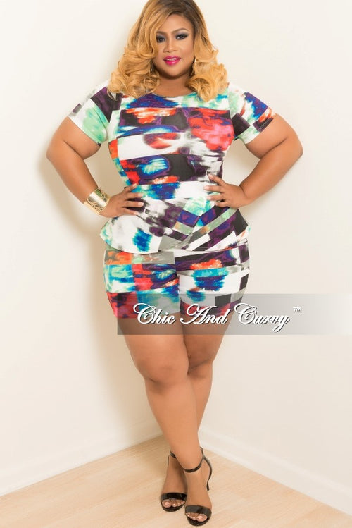 Final Sale Plus Size Overlay Romper in Purple Multi Colored Print