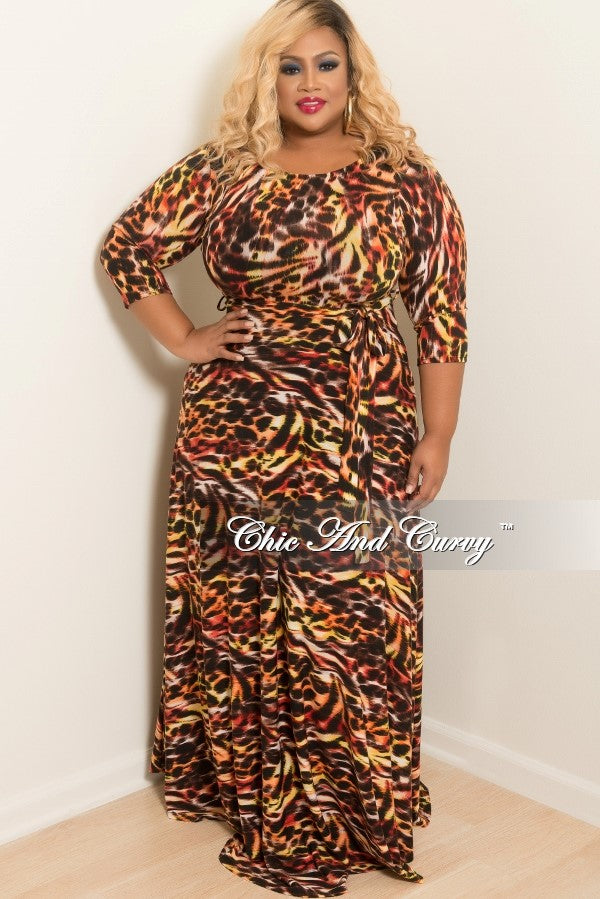 New Plus Size Long Dress with 3/4 Sleeve and Tie in Yellow, Brown, Red and Orange Animal Print