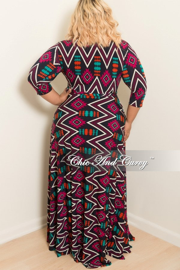 New Plus Size Long Dress with 3/4 Sleeve and Tie in Multi Colored Tribal Print