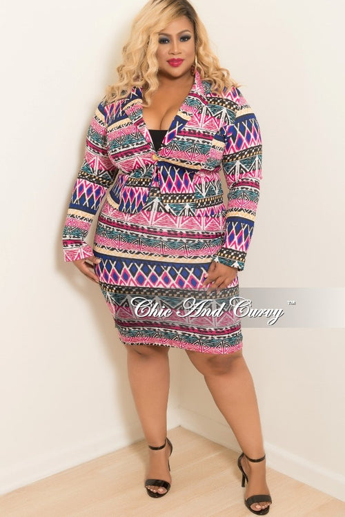 Final Sale Plus Size 2-Piece Blazer and Pencil Skirt Set in Hot Pink, Royal Blue, Tan, Turquoise and Black