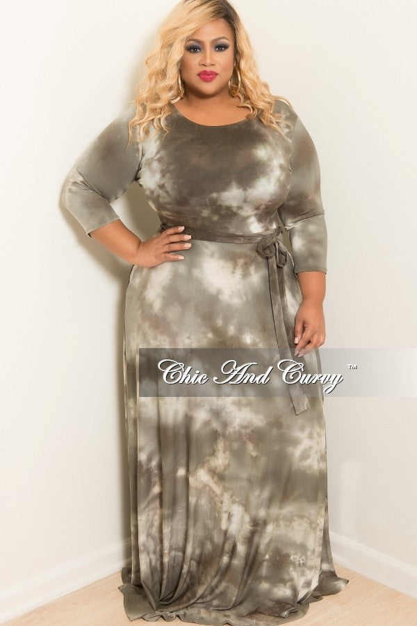 New Plus Size Tie Dye Long Dress with 3/4 Sleeve and Tie in Olive
