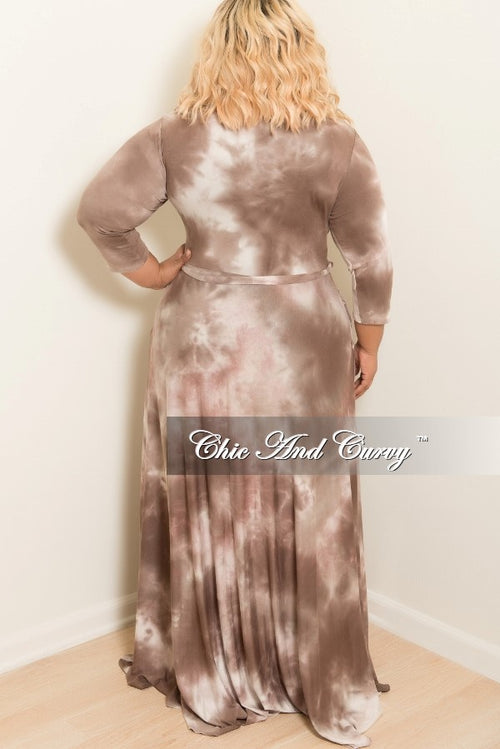New Plus Size Tie Dye Long Dress with 3/4 Sleeve and Tie in Rust Brown