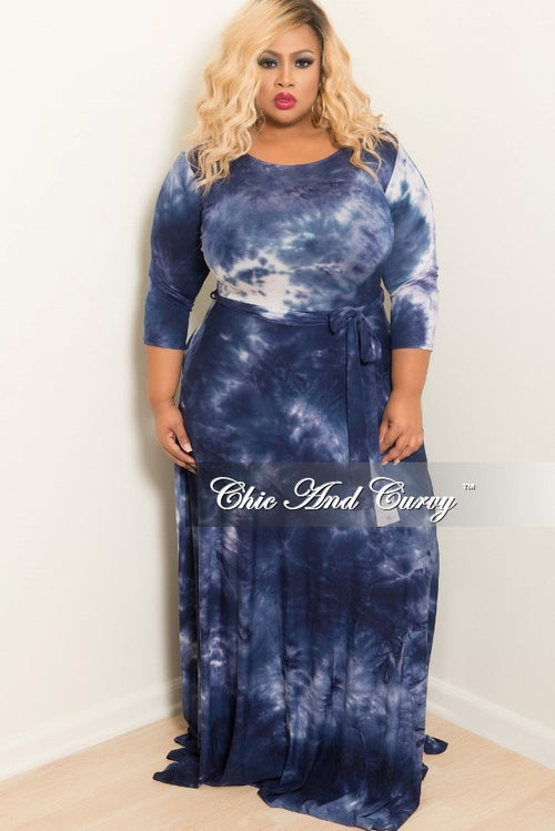 Final Sale Plus Size Tie Dye Long Dress with 3/4 Sleeve and Tie in Navy