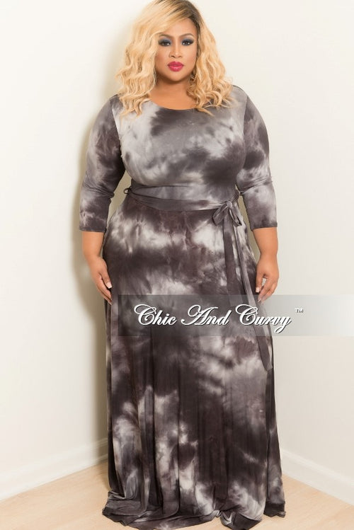 Final Sale Plus Size Tie Dye Long Dress with 3/4 Sleeve and Tie in Grey