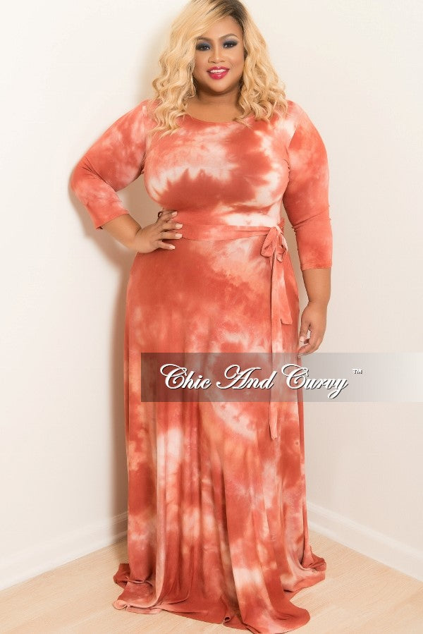 Final Sale Plus Size Tie Dye Long Dress with 3/4 Sleeve and Tie in Orange