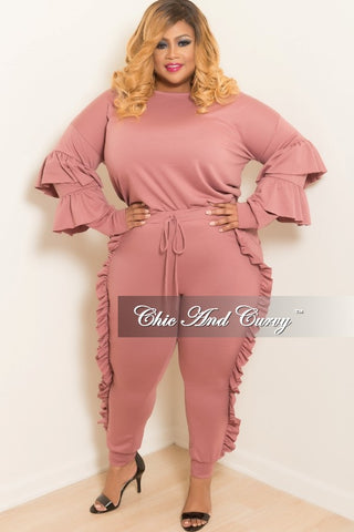 New Plus Size 2-Piece Ruffle Top and Jogging Pants Set in Mauve