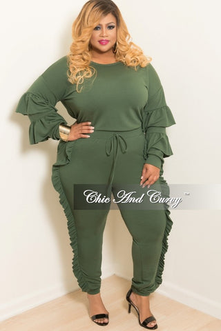 New Plus Size 2-Piece Ruffle Top and Jogging Pants Set in Olive