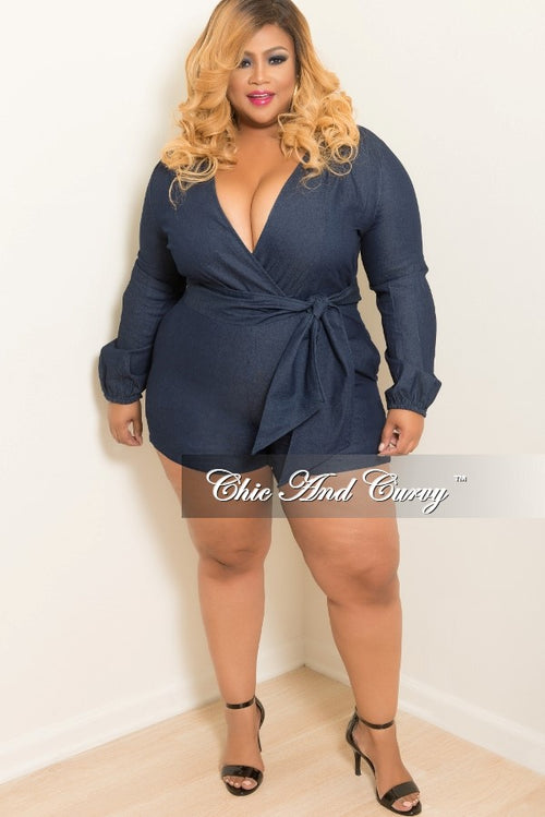 35% Off Sale - Final Sale  Plus Size Faux Wrap Romper with Attached Tie in Denim