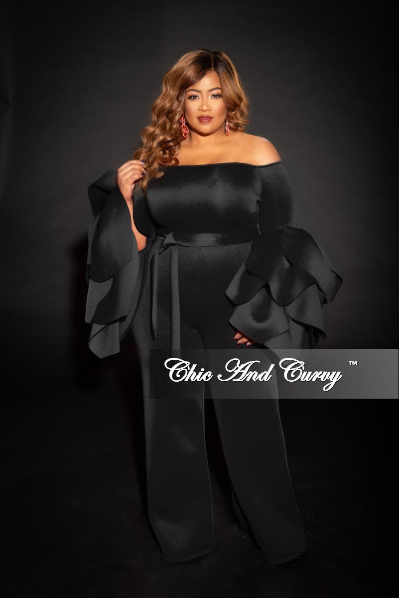 803d2b8e2b1 Final Sale Plus Size Off the Shoulder Jumpsuit with Exaggerated Sleeve –  Chic And Curvy