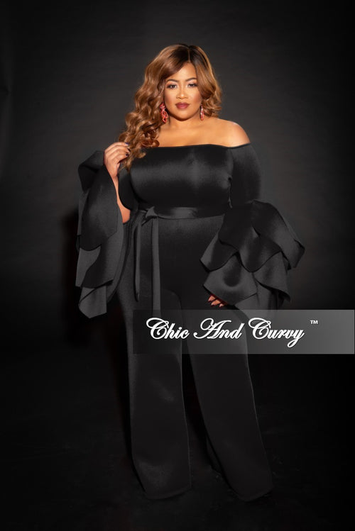 Final Sale Plus Size Off the Shoulder Jumpsuit with Exaggerated Sleeves and Tie in Black Scuba