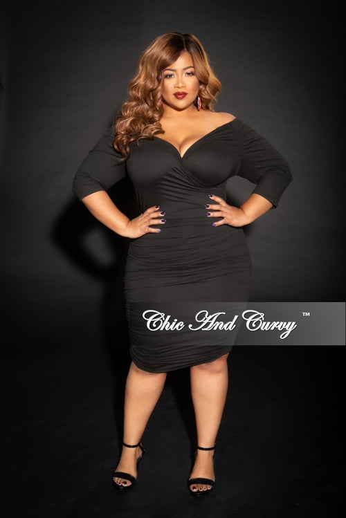 New Plus Size Off the Shoulder Faux Wrap Ruched Dress in Black