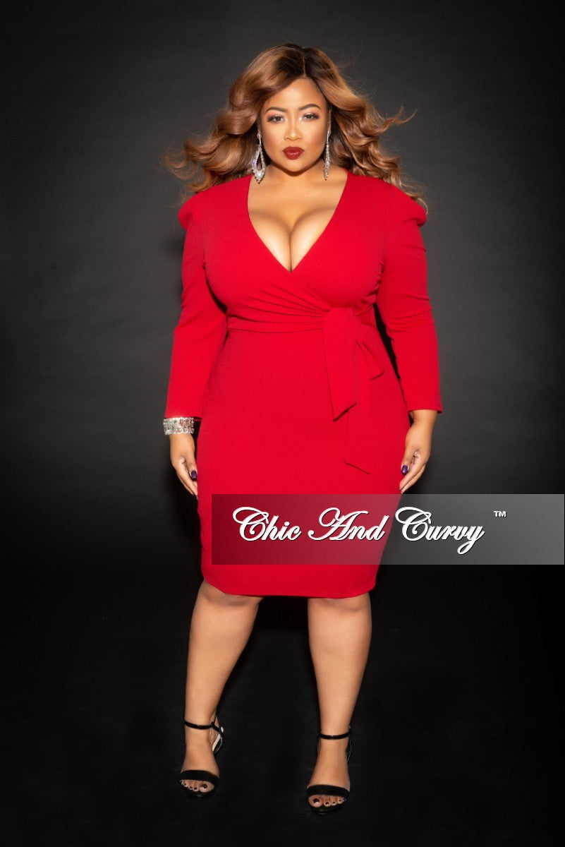 Final Sale Plus Size Faux Wrap Dress with Attached Tie in Burgundy