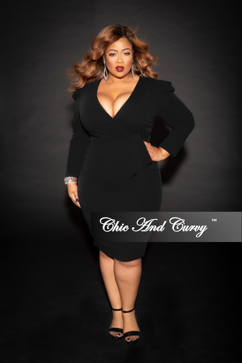 Final Sale Plus Size Faux Wrap Dress with Attached Tie in Black