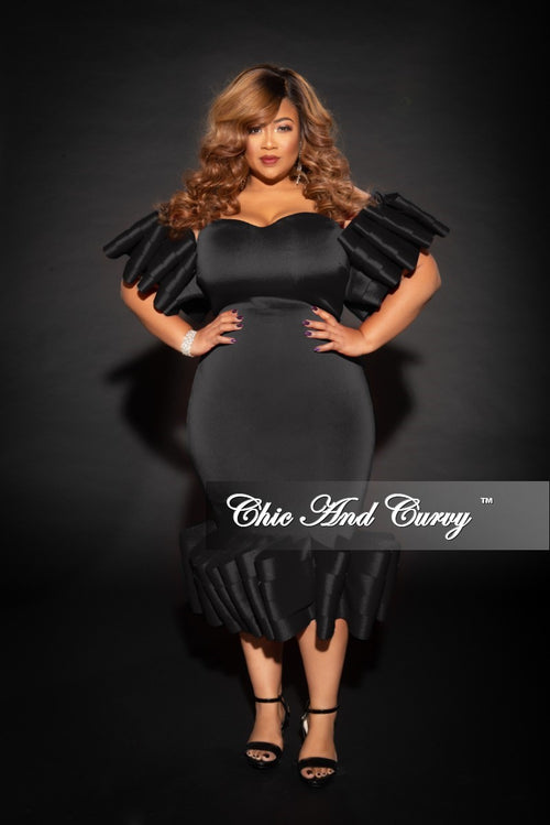 Final Sale Plus Size Off the Shoulder BodyCon Dress with Exaggerated Ribbon Sleeves and Bottom in Black