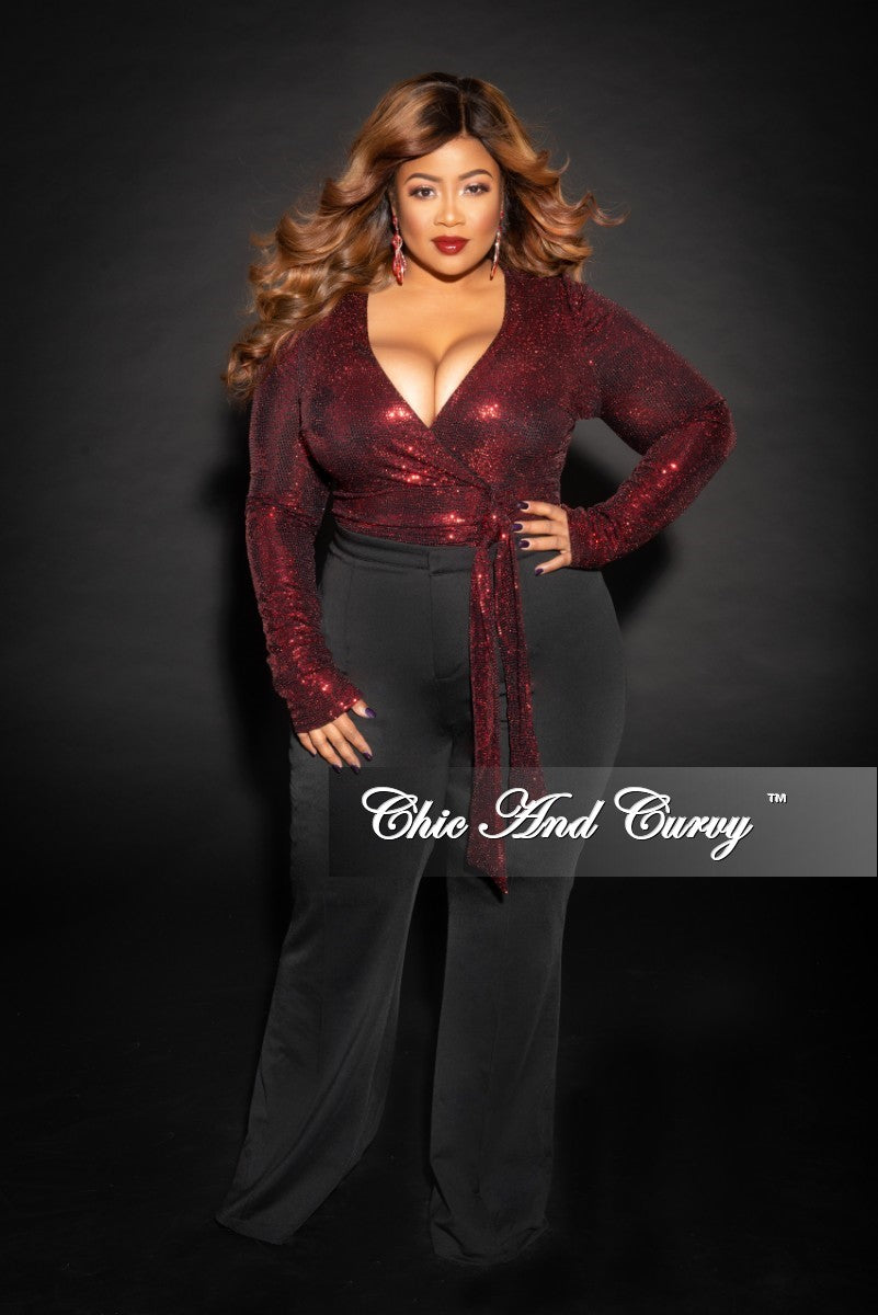 Final Sale Plus Size Faux Wrap Sparkle Bodysuit in Red and Black