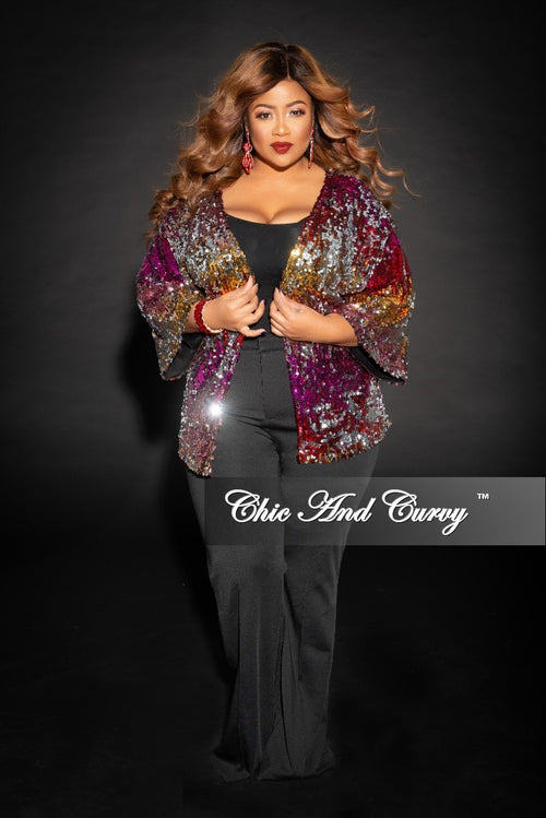 Final Sale Plus Size Sequin Cardigan in Multi Color (Seasonal)