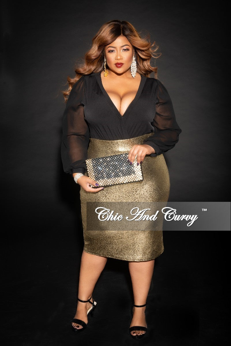 Final Sale Plus Size High Waist Skirt in Gold
