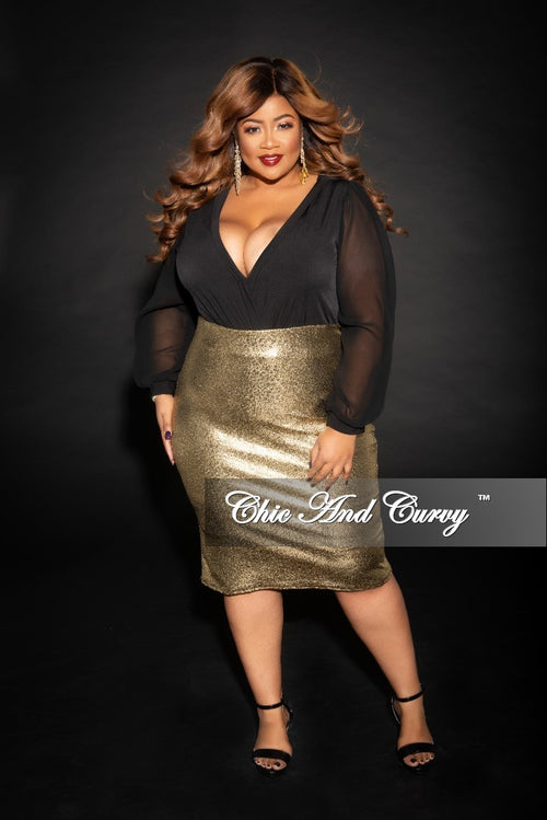 Final Sale Plus Size Faux Wrap Bodysuit with Chiffon Sleeves in Black