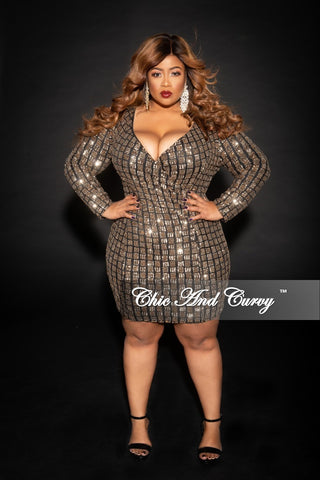 Final Sale Plus Size Sequin Mesh Long Top/Dress in Black (Bodysuit Not Included)