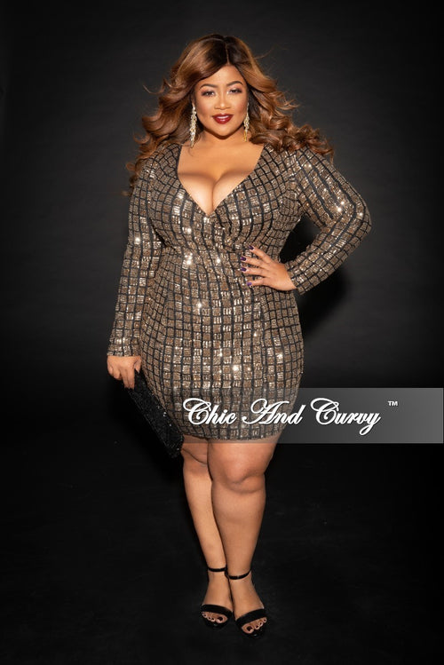 Final Sale Plus Size Faux Wrap Sequin Dress in Black and Gold