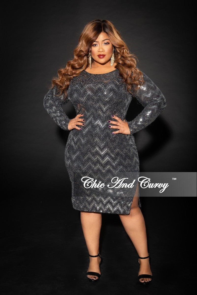 088bce976f Final Sale Plus Size Long Sleeve Zig-Zag BodyCon Dress with Side Botto –  Chic And Curvy