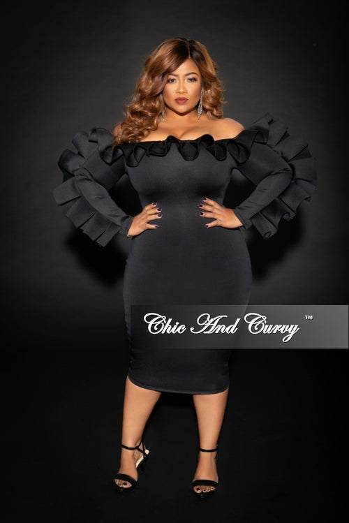 Final Sale Plus Off the Shoulder BodyCon Dress with Ruffle Trim in Black Scuba