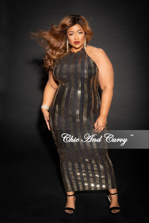 Final Sale Plus Size Sleeveless Sequin BodyCon Dress with Back Zipper in Gold and Black