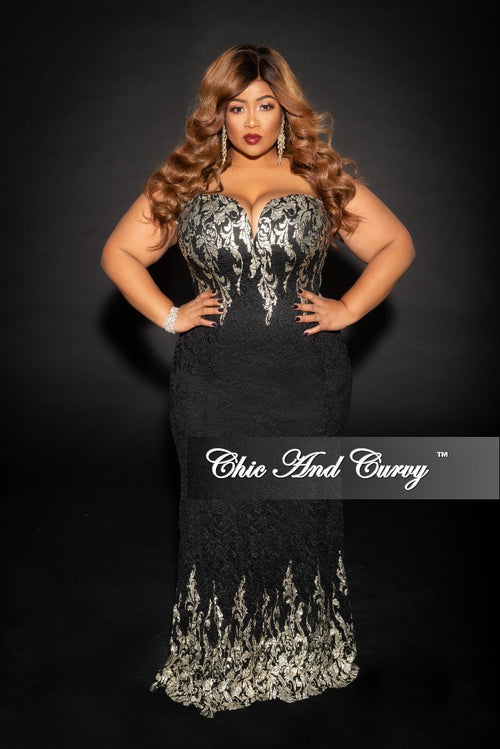Final Sale Plus Size BodyCon Strapless Lace Gown with Deep V in Black and Gold (Seasonal)