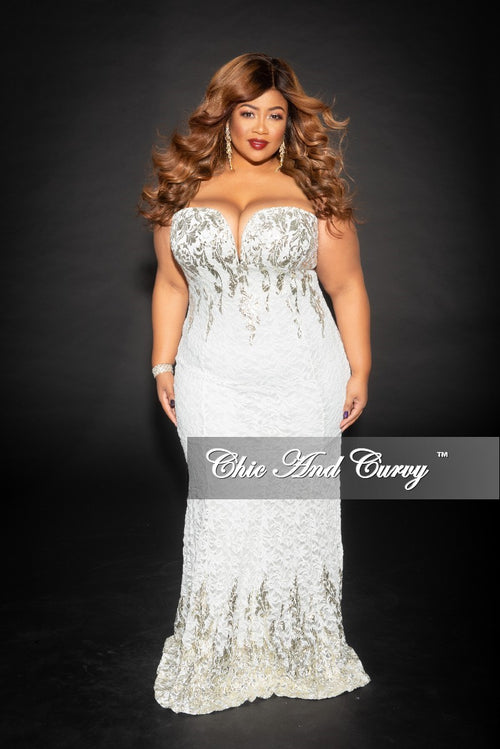 Final Sale Plus Size Strapless BodyCon Lace Gown with Deep V in Ivory and Gold (Seasonal)